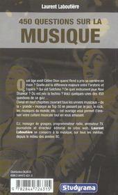 450 Questions Sur La Musique - 4ème de couverture - Format classique