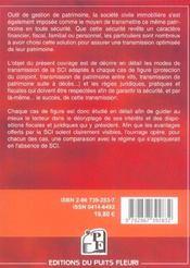 Transmettre Une S.C.I. Familiale. Guide Juridique, Pratique Et Fiscal - 4ème de couverture - Format classique