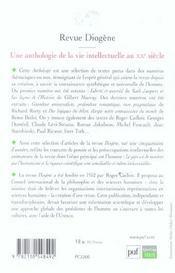 REVUE DIOGENE ; anthologie de la vie intellectuelle au XXe siècle - 4ème de couverture - Format classique