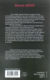 Hannah arendt ; essai de biographie intellectuelle - Couverture - Format classique