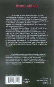 Hannah arendt ; essai de biographie intellectuelle - 4ème de couverture - Format classique