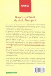 Grands Systemes De Droit Etrangers ; 4e Edition - 4ème de couverture - Format classique