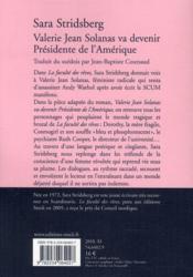 Valérie Jean Solanas va devenir président de l'Amérique - 4ème de couverture - Format classique