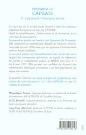Preparer Le Capsais T.2 L Epreuve Ecrite - 4ème de couverture - Format classique