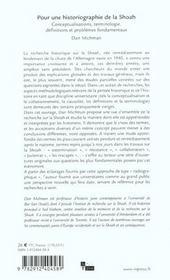 Pour une historiographie de la shoah - 4ème de couverture - Format classique