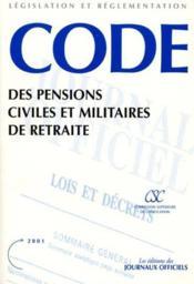 Code des pensions civiles et militaires de retraite - Couverture - Format classique