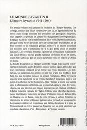Le monde byzantin t.2 ; l'empire byzantin (641-1204) - 4ème de couverture - Format classique