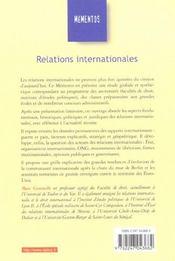Relations internationales - 4ème de couverture - Format classique