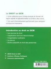Introduction Au Droit En Qcm - 4ème de couverture - Format classique