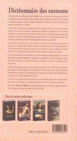 Dictionnaire des surnoms - 4ème de couverture - Format classique