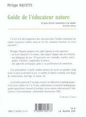 Le guide de l'éducateur nature - 4ème de couverture - Format classique