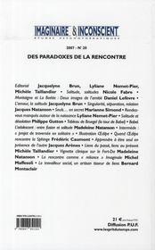 Imaginaire et inconscient t.20 ; des paradoxes de la rencontre - 4ème de couverture - Format classique