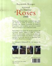 Agenda de l'amateur de roses (édition 2008) - 4ème de couverture - Format classique