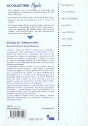 Clinique De L'Intentionnalite - 4ème de couverture - Format classique