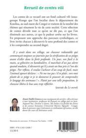 Recueil de contes vili ; analyse des parcours figuratifs et symboliques - 4ème de couverture - Format classique
