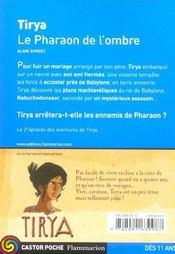 Tirya T.2 ; Le Pharaon De L'Ombre - 4ème de couverture - Format classique