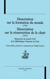 Dissertation Sur La Formation Du Monde ; Dissertation Sur La Resurection De La Chaire - Intérieur - Format classique
