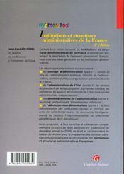 Memento - institutions et structures administratives de la france - 2eme edition - 4ème de couverture - Format classique