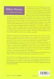 Mikio Naruse ; les temps incertains - 4ème de couverture - Format classique