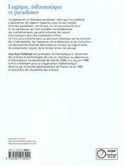 Logique Info & Paradoxes - 4ème de couverture - Format classique
