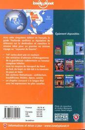Thaillande ; 5e Edition - 4ème de couverture - Format classique