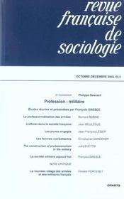 Revue française de sociologie N.44.4 ; octobre-décembre 2003 - Intérieur - Format classique