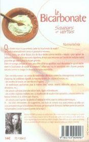 Le bicarbonate, saveurs et vertus - 4ème de couverture - Format classique