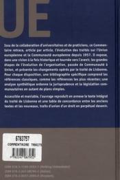 Commentaire et traités UE & CE ; de Rome à Lisbone (2e édition) - 4ème de couverture - Format classique