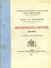 Missions en Chypre : 1932-1935. - Couverture - Format classique