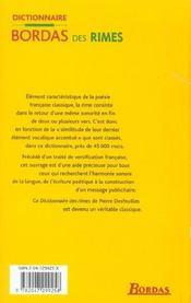 Dictionnaire Des Rimes - 4ème de couverture - Format classique