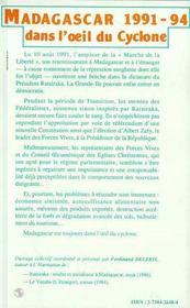 Madagascar 1991-94 Dans L'Oeil Du Cyclone ; Cahier N.1 - 4ème de couverture - Format classique