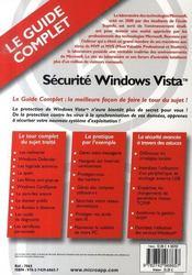 Sécurité windows vista - 4ème de couverture - Format classique