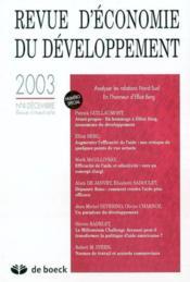 Revue D'Economie Du Developpement N.3/4 - Couverture - Format classique