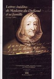 Lettres inédites de Madame du Deffand à sa famille (1724-1780) - Intérieur - Format classique