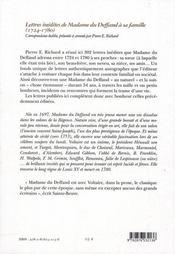 Lettres inédites de Madame du Deffand à sa famille (1724-1780) - 4ème de couverture - Format classique