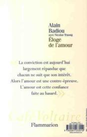 Éloge de l'amour - 4ème de couverture - Format classique