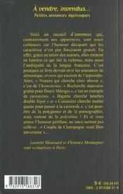 A Vendre Invendus - 4ème de couverture - Format classique