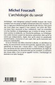 L'archéologie du savoir - 4ème de couverture - Format classique
