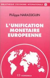 Unification monetaire europeenne - Couverture - Format classique