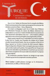 L'arrivée de la turquie ; commentaire critique de son histoire - 4ème de couverture - Format classique