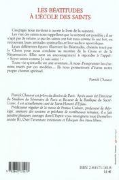 Beatitudes a l'ecole des saints - 4ème de couverture - Format classique