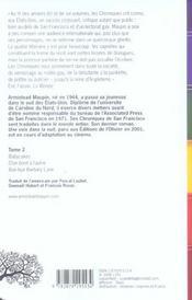 Chroniques de San Francisco ; INTEGRALE VOL.2 ; T.4 A T.6 - 4ème de couverture - Format classique