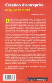 Creation D'Entreprise ; Le Guide Complet - 4ème de couverture - Format classique