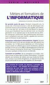 Les Metiers Et Formations De L'Informatique - 4ème de couverture - Format classique