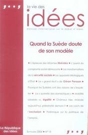 La vie des idées t.15 ; quand la suède doute de son modèle - Intérieur - Format classique