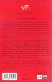 La tradition sociologique (4e ed) (4e édition) - 4ème de couverture - Format classique