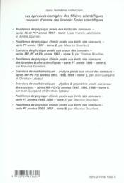 Problemes Corriges De Physique Chimie Concours Scientifiques Tome 8 2001-2002 Serie Pt - 4ème de couverture - Format classique