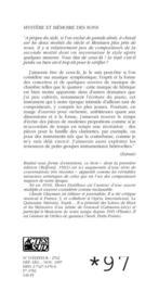 Mystère et mémoire des sons - 4ème de couverture - Format classique