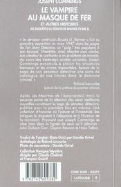 Le Vampire Au Masque De Fer Et Autres Histoires - 4ème de couverture - Format classique