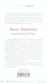 Marie Madeleine Ou La Beaute De Dieu - 4ème de couverture - Format classique